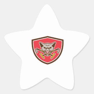 Crête croisée par tête sauvage de maillet de polo sticker étoile