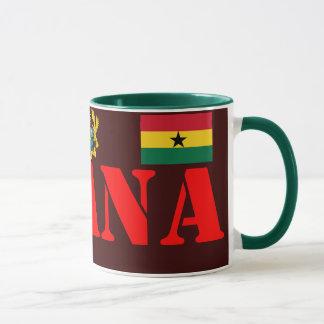 Crête de GHANA* et tasse de café de drapeau