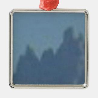 crêtes d'ombre ornement carré argenté