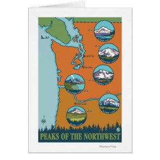 Crêtes du nord-ouest - 5 montagnes différentes carte de vœux