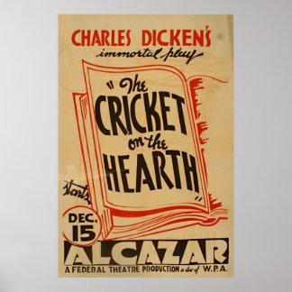 Cricket de Charles Dickens sur le cru WPA de foyer Posters