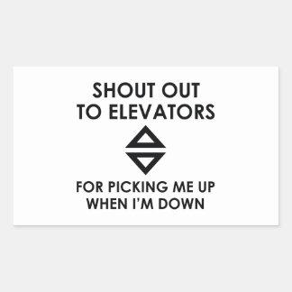 Criez aux ascenseurs sticker rectangulaire