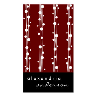 Crimson Stylish Dots and Straw Business Cards