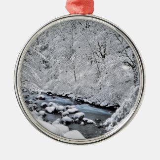 Crique de blanc de Milou pittoresque, Orégon Ornement Rond Argenté