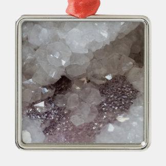 Cristal d'argent et de quartz ornement carré argenté