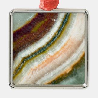 Cristal de quartz de café de mousse ornement carré argenté