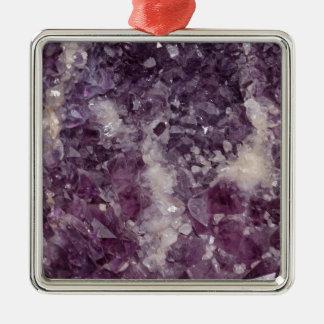 Cristal de quartz mauve-foncé ornement carré argenté