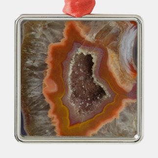 Cristal de quartz terreux Druzy Ornement Carré Argenté