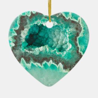 Cristaux de menthe de Geode Ornement Cœur En Céramique
