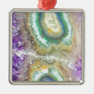 Cristaux de sucrerie de quartz ornement carré argenté