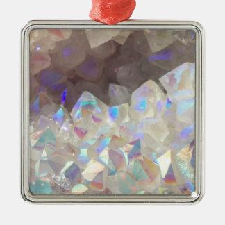 Cristaux iridescents d'aura ornement carré argenté