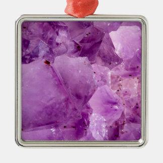 Cristaux violets de Kryptonite Ornement Carré Argenté