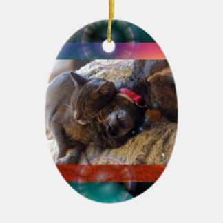 Crochet de Papi et de Gigi un certain Zzzz Ornement Ovale En Céramique