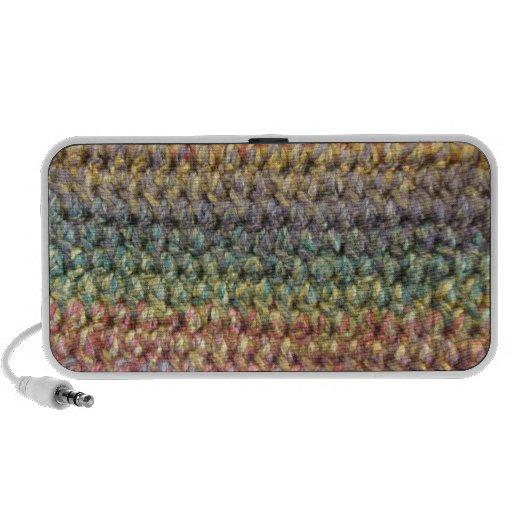 Crochet tricoté rayé multicolore haut-parleurs PC