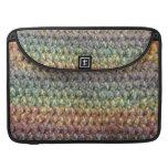 Crochet tricoté rayé multicolore poches pour macbook
