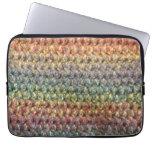 Crochet tricoté rayé multicolore trousse pour ordinateur portable
