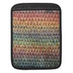 Crochet tricoté rayé multicolore poches pour iPad