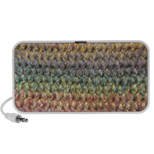 Crochet tricoté rayé multicolore système de haut-parleurs