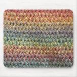 Crochet tricoté rayé multicolore tapis de souris