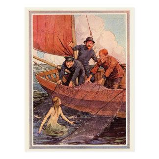 Crochet vintage de sirène de marins carte postale