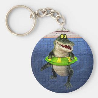 Crocodile de bande dessinée dans l'extrémité porte-clé rond