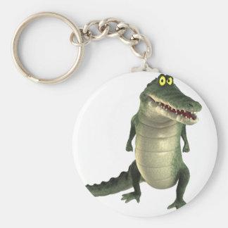 Crocodile de bande dessinée porte-clé rond