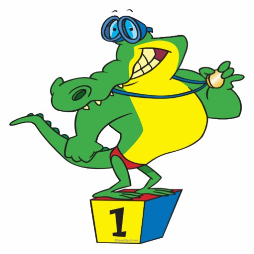 crocodile drôle d'alligator de champion de nageur photo en découpe