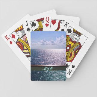 Croisant le bleu d'océan cartes à jouer