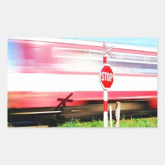 Croisement de chemin de fer sticker rectangulaire