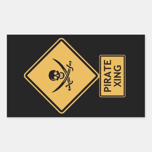 croisement de pirate sticker en rectangle