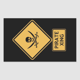 croisement de pirate sticker rectangulaire