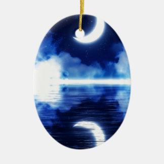 Croissant de lune au-dessus de ciel étoilé ornement ovale en céramique