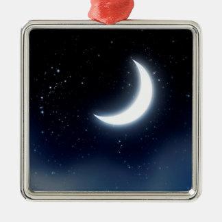 Croissant de lune au-dessus de Sky2 étoilé Ornement Carré Argenté