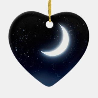 Croissant de lune au-dessus de Sky2 étoilé Ornement Cœur En Céramique