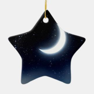 Croissant de lune au-dessus de Sky2 étoilé Ornement Étoile En Céramique