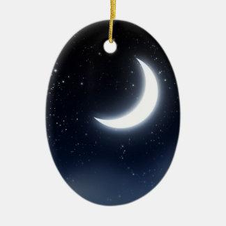 Croissant de lune au-dessus de Sky2 étoilé Ornement Ovale En Céramique
