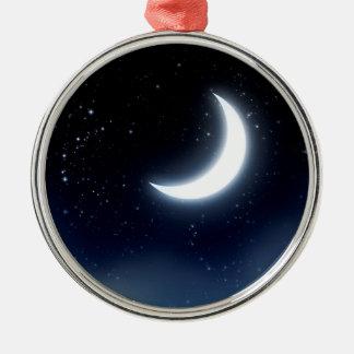 Croissant de lune au-dessus de Sky2 étoilé Ornement Rond Argenté
