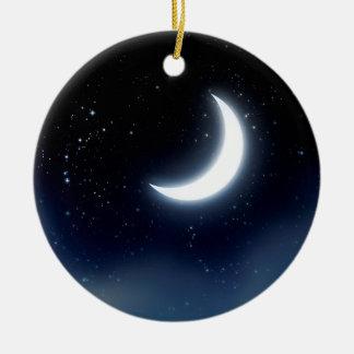 Croissant de lune au-dessus de Sky2 étoilé Ornement Rond En Céramique