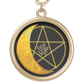 Croissant de lune d'or et collier de pentagramme -