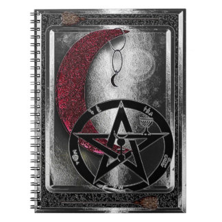 Croissant de lune et pentagramme argentés de carnets