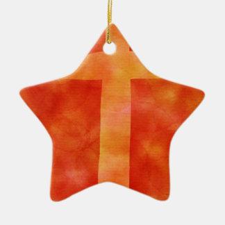 croix ardente ornement étoile en céramique