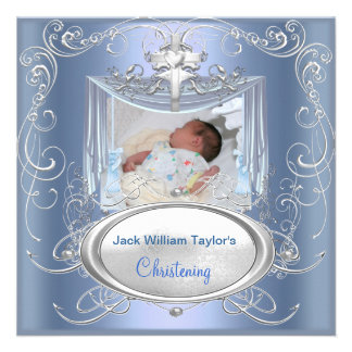 Croix argentée bleue de garçon de baptême de baptê cartons d'invitation personnalisés