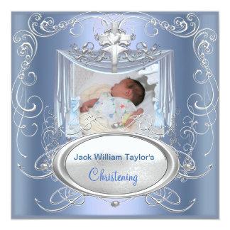 Croix argentée bleue de garçon de baptême de carton d'invitation  13,33 cm