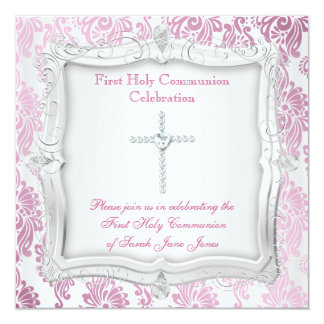 Croix argentée rose de première sainte communion carton d'invitation  13,33 cm