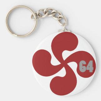 Croix basque rouge 64 Lauburu Porte-clé Rond