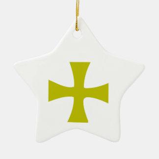 Croix bizantine d'or ornement étoile en céramique