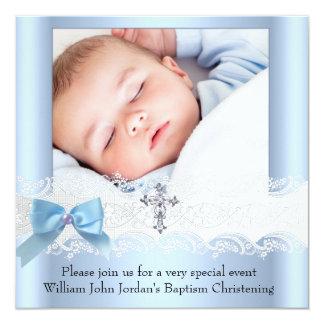 Croix blanche bleue 3 de bijou de dentelle de carton d'invitation  13,33 cm
