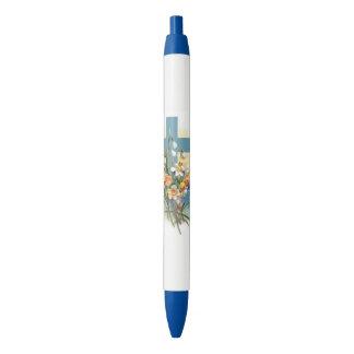 Croix bleue avec des fleurs et des bateaux crayon noir