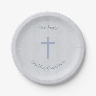 Croix bleue en pastel de communion assiettes en papier
