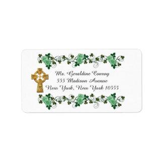 Croix celtique d'étiquettes de adresse irlandais étiquette d'adresse